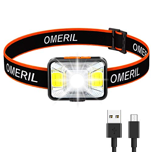 OMERIL Stirnlampe LED Wiederaufladbar USB...